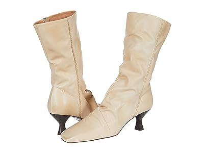 Free People Marcella Square Toe Heel Boot (Beige) Women