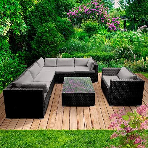 BRAST Poly-Rattan Gartenmöbel Lounge Set 15 Modelle 3 Farben 4-12 Personen Aluminium Sitzgruppe Harmony Schwarz