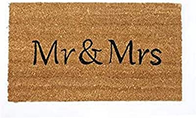 Decorative Coir Entrance Door Mat Mr. & Mrs. 70 cm x 40 cm