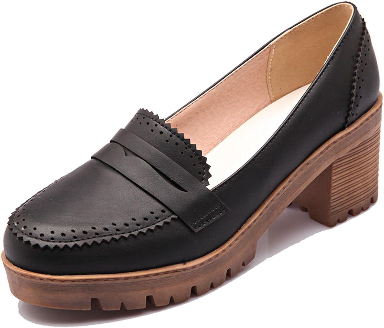 DoraTasia Women's Classic Round Toe Platform Flat Low Heel Penny Loafer School Dress shoes