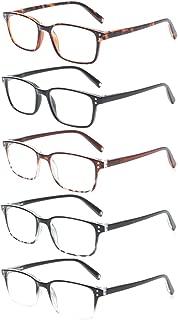 Reading Glasses Men Women Retro Comfort Readers 5 Packs Spring Hinge Glasses of Reading