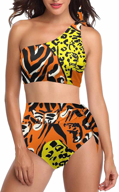 InterestPrint Wild Animal Leopard Print Swimwear Two Pieces Bathing Suit One-Shoulder Crop Top Tankini