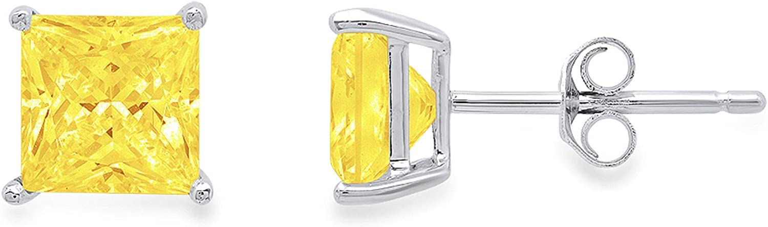 Clara Pucci 0.50 ct Brilliant Princess Cut Solitaire VVS1 Flawless Yellow Simulated Diamond Gemstone Pair of Stud Earrings Solid 18K White Gold Butterfly Push Back
