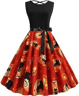 Vestido de Fiesta de Fiesta de ama de casa Vintage sin Mangas de Halter de los años 50 para Mujer
