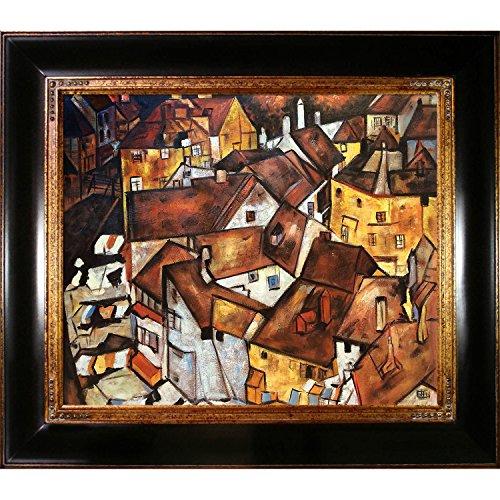 overstockArt Crescent der Häuser mit Opulent Rahmen von Egon Schiele gerahmt handbemalt Öl auf Leinwand, Holz, Mehrfarbig