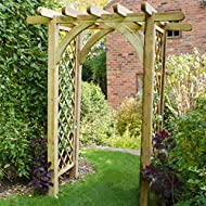 Lattice panels are perfect for climbing plants on this chunky garden arch. Supplied with extra leg length for sinking into the ground. Manufactured from pressure treated timber to protect against rot. Width between the posts is 128cm. Some of our ite...