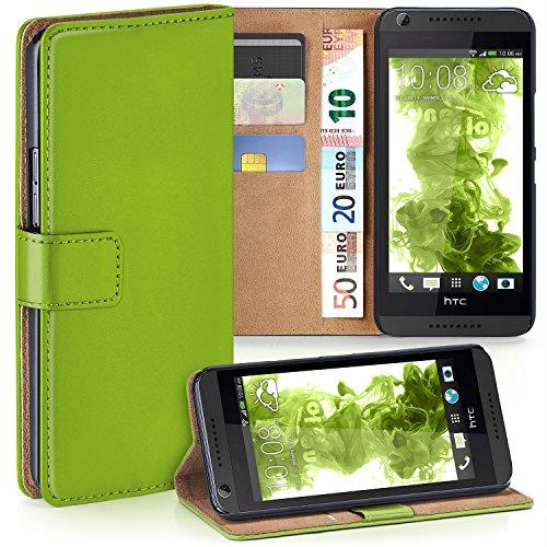 MoEx Premium Book-Case Handytasche kompatibel mit HTC Desire 626G | Handyhülle mit Kartenfach und Ständer - 360 Grad Schutz Handy Tasche, Grün