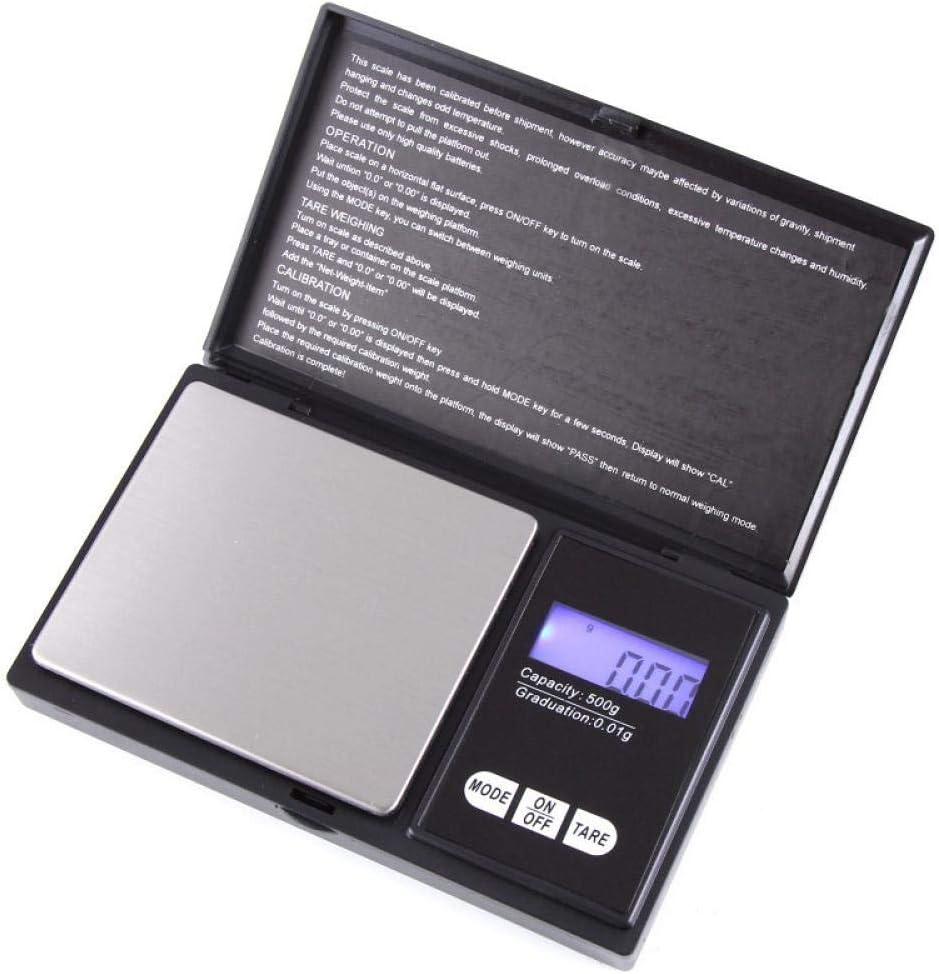 Báscula de bolsillo digital electrónica 200g 0.01g Balanza de precisión para joyas pequeñas Suministros de cocina Retroiluminación Gram Scale-500g_X_0.1g_black