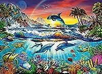 1000ピースパズル-オーシャンパズル-大人の子供用パズル-クラシックパズル-部屋の装飾-クジライルカオウムパズル