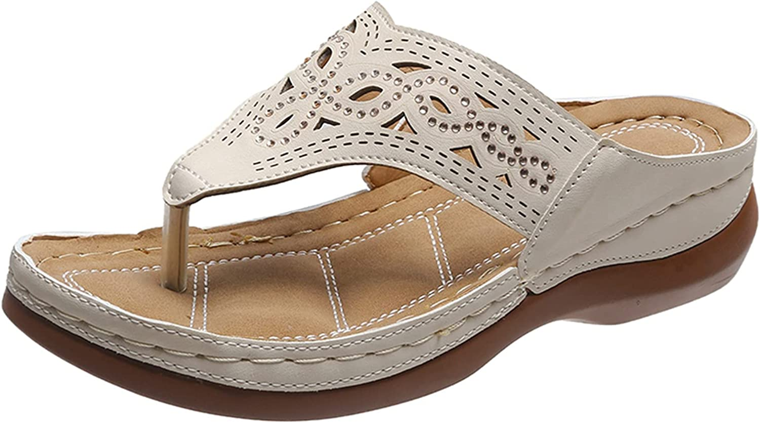 Sandals for Women Casual Summer,Thong Sandals Indoor and Outdoor Beach Flip Flop Wedge Sandals Shoes