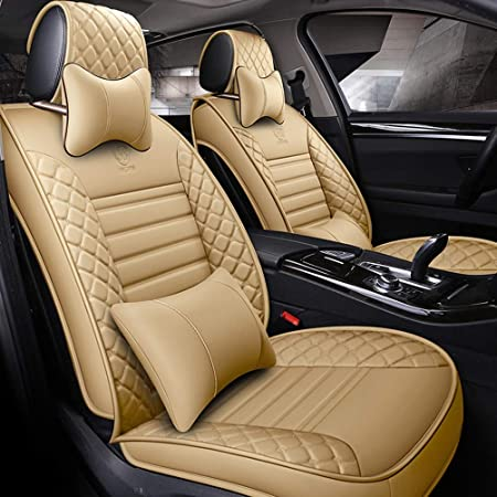 Auto Sitzbezüge Pu Leder Auto Autositzbezüge 5 Sitze Full Set Universal Fit Farbe Beige Luxury Auto