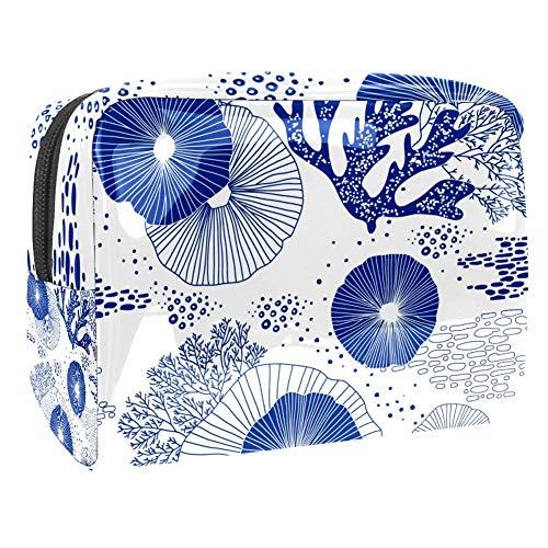 TIZORAX Kosmetiktasche mit blauen Korallen und Algen, PVC, Make-up-Tasche, Reise-Toilettenartikel,...