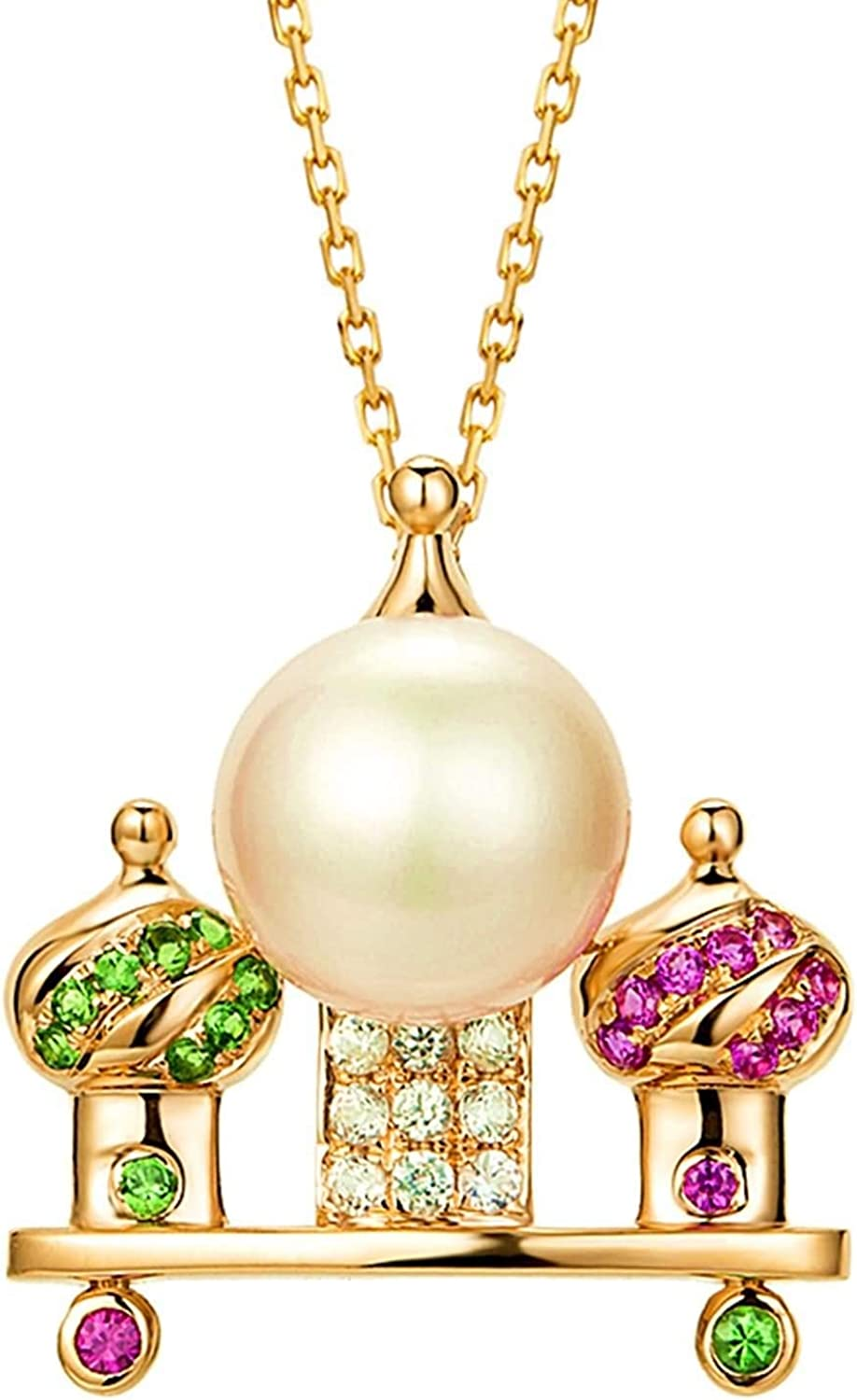 Daesar 18K Rose Gold Necklace Castl low-pricing 0.106ct Ranking TOP17 Women for Multicolor