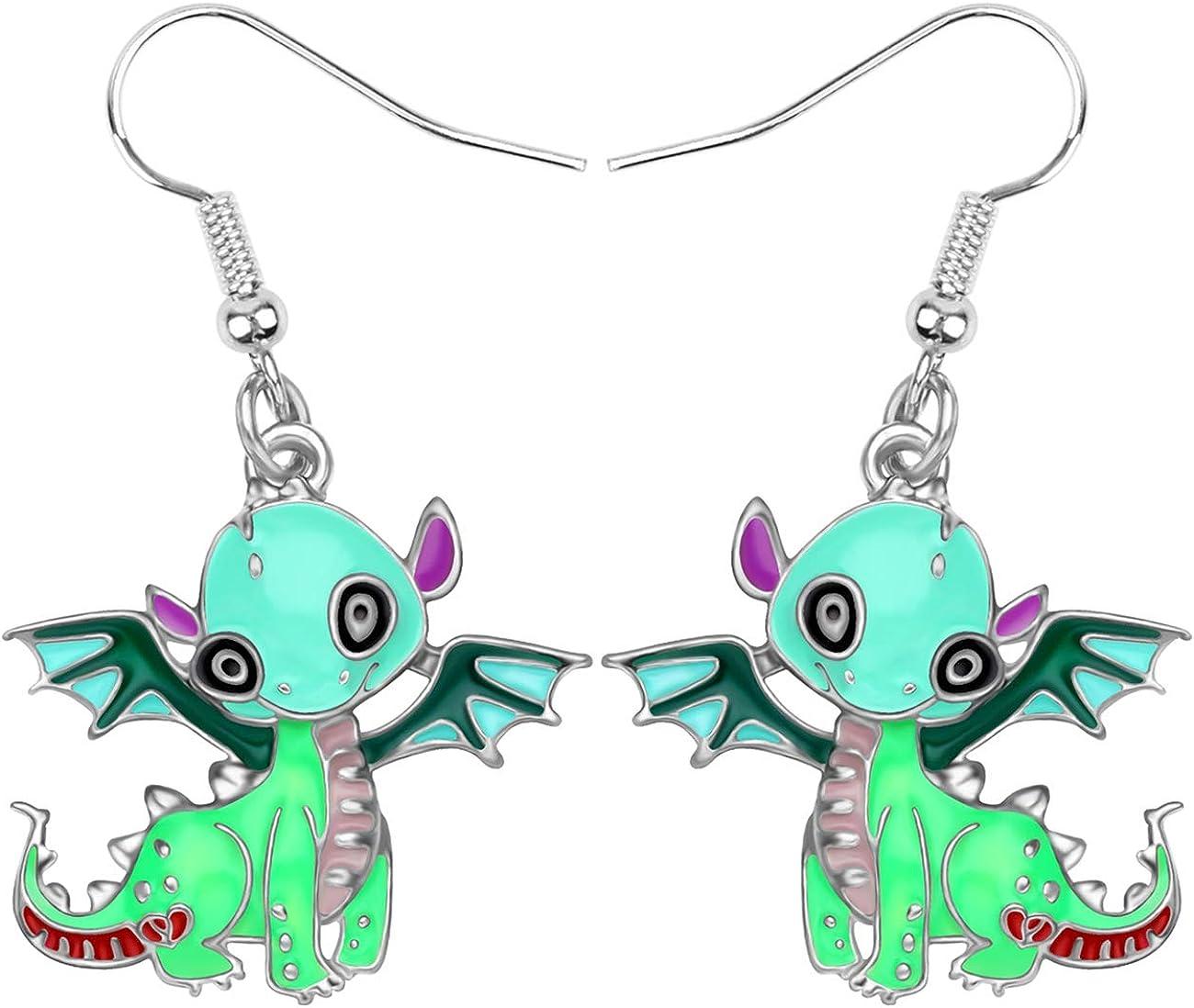 DUOWEI Cute Dinosaur Dragon Earrings Dainty Enamel Dangle Drop Funny Jewelry Gifts for Women Teen Girls Charms