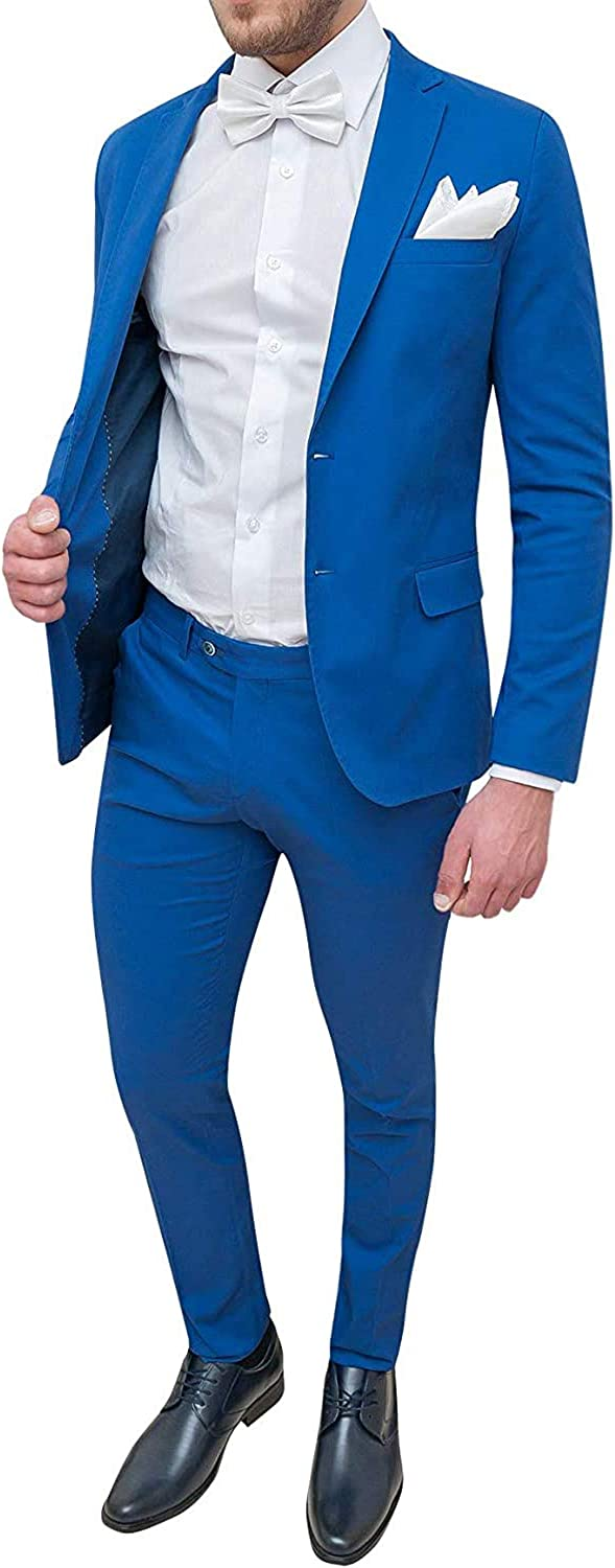 Fenghuavip Blue Suit 2 Piece Casual Suit with Pocket Everyday Coat Pants