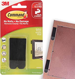 Command Medium Picture Hanging Strip , 4 Pairs, Damage free walls, Holds 5.4kg,Holds strong, Black