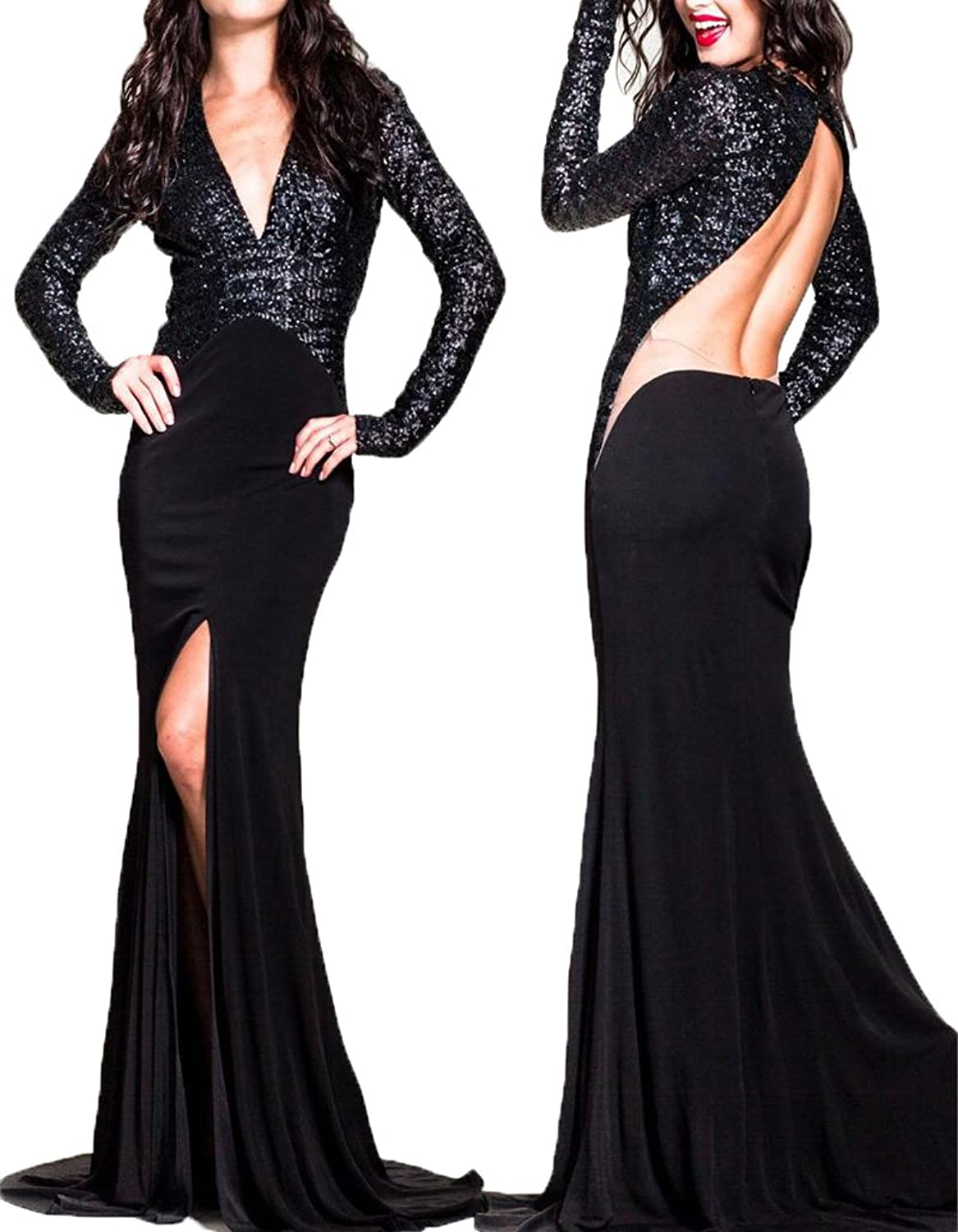 Ellenhouse Women's Sequined Long Sleeve Evening Dress Backless Prom Gowns EL092
