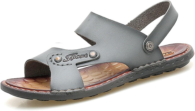LLPSH Männer Faux Leder Strand Hausschuhe Casual Rutschfeste Weiche Flache Sandalen Schuhe Verstellbare Backless  | Online Outlet Store