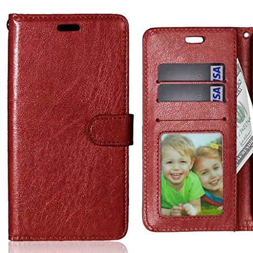 LEMORRY Hülle für Lenovo ZUK Z2 (Lenovo Z2 Plus) Hülle Tasche Geprägter Ledertasche Beutel Schutz Magnetisch Schließung SchutzHülle Weich Silikon Cover Schale für Lenovo ZUK Z2, Bilderrahmen Braun