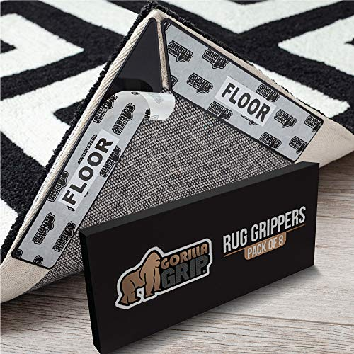 Gorilla Grip Premium Rug Corner and Side Grippers for Hard Floors, Patent Pending, 8 Piece, Anti Curl Reusable Gripper Corners Fit Seamlessly to Rugs Edge, Dual Sided Pads Help Stop Carpets Curling