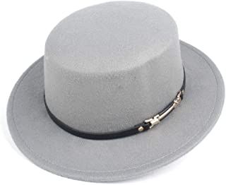 Lei Zhang Fashion Flat Top Hat For Men Women Adult Hat Chuch Hat Wool Fascinator Fedora Hat Size 56-58CM