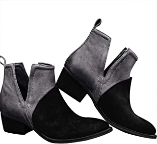 Blivener Fashion Chelsea Boots Slip on Ankle Booties Chunky Block Pointed Toe V-Cut Low Heel Shoes