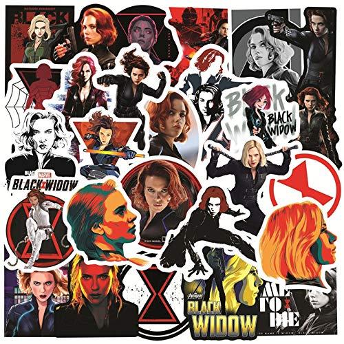 Pegatinas de Disney Black Widow impermeables Marvel Hero The Avengers Sticker Monopatín Guitarra Equipaje Portátil Stikers Juguetes 50pcs