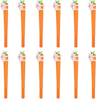 Pupdoge 12 Pack 0.5mm Bunny Rabbit Carrot Roller Ball Writing Gel Pen Black Ball Point Pens Creative Gifts for Office School Student Supplies Set