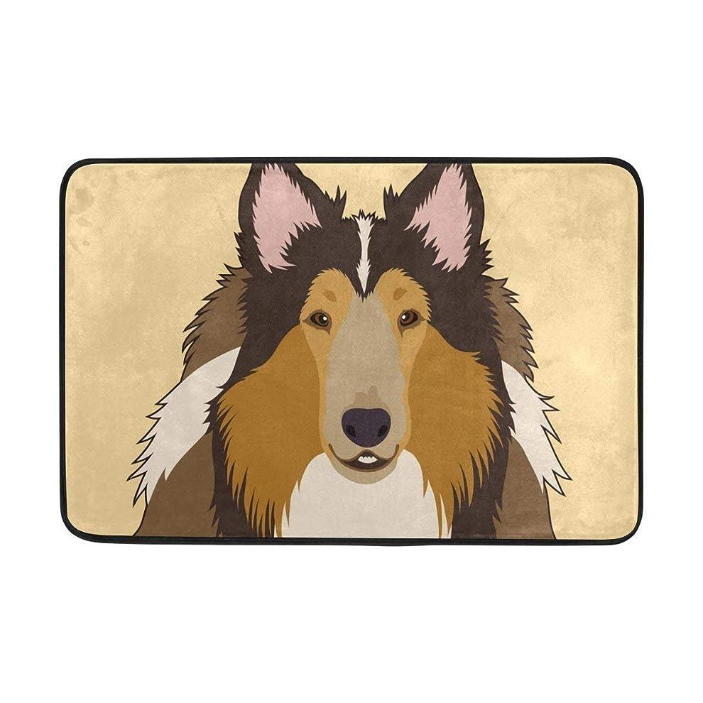 疑い者ハング道カーペットラフコリー犬のドアマット15.7 x 23.6インチ、リビングルームの寝室の台所浴室装飾的な軽量フォームプリント敷物