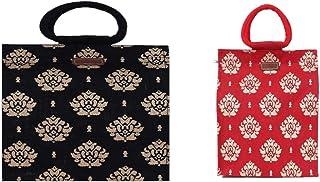 ECOTARA Gold 100% Natural Jute Shopping Bag Large Black & Red Small Combo