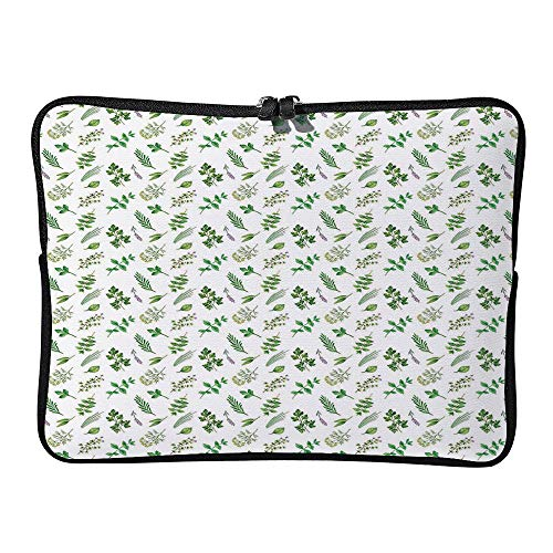 C COABALLA Botanical, Watercolor Herbs Spices Plain Laptop Sleeve Case Neoprene Carrying Bag for Any Tablet/Notebook AM006008 15 inch/15.6 inch
