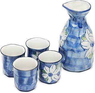 KBNI Ceramic Sake Set Hand Painting Jasmine Flower Traditional Blue and White Porcelain include 1PC Sake Bottle 7.6oz and 4PC Sake Cups 1.7oz