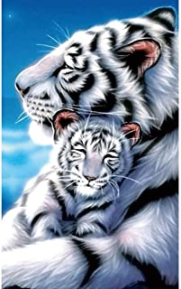 HOT Sale! 5D Diamond DIY Painting, Full Drill Handmade White Tiger Mother Child Under Moonlight Starry Sky Cross Stitch Home Decor Embroidery Kit Brahmerth (Tiger, 30x40cm)