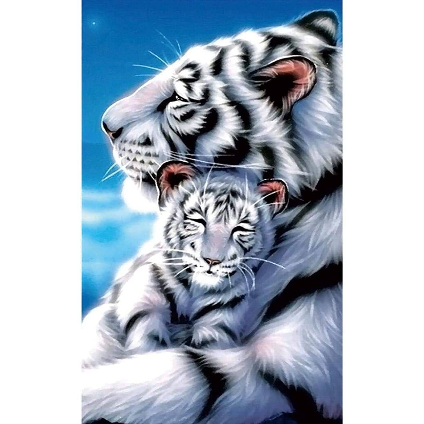Clearance! 5D Diamond DIY Painting Full Drill Handmade White Tiger Mother Child Under Moonlight Starry Sky Cross Stitch Home Decor Embroidery Kit Nearzstorn (Multicolor, 30x45cm)