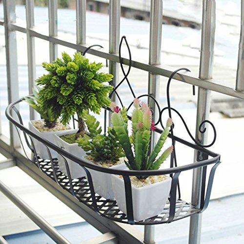 Edge to Porte-Fleurs Forjado de Hierro barandillas de Los balcones cuelgan maceta de Flores estanté alféizar Mural de la Salle intérieur vistoso (Couleur : 60 * 20 * 28cm)