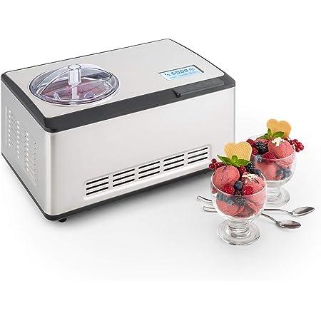 Klarstein Dolce Bacio - Machine à crème glacée, Sorbetière à compresseur, Glaces, sorbets, yaourts, Pack thermique 2L, Ecran tactile LCD, Minuterie, Acier inoxydable, Argent