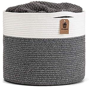 "crib bedding and baby bedding goodpick large cotton rope basket 15.8""x15.8""x13.8""-baby laundry basket woven blanket basket nursery bin, gray"