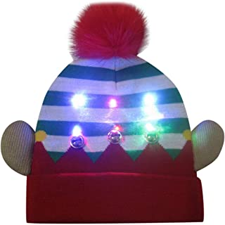 Colorful Merry Christmas Hats Fashion LED Light-up Knit Hat Beanie Hairball Warm Cap Gifts Winter Knitted Ball Cap