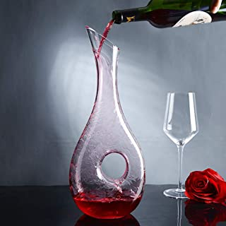 zhixing Wine Decanter Snail-Shape Hand Blown 100% Lead-Free Crystal Wine Carafe 1000ml Decanting Aerator Wine Jug Gift Accessories for Drinker Family Party Business
