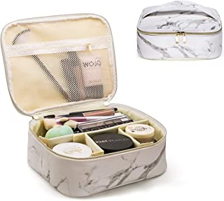 Makeup Bag Organizer Travel Marble Cosmetic Case Portable Large Toiletry Bag with Brush Holder PU Gold Zipper Pencil Stora...