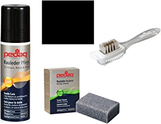 Pedag Suede Cleaner and Textile Color Restorer, 3 pc Cleaning and Care Kit for Shoes and Boots, Made in Germany, Black Color