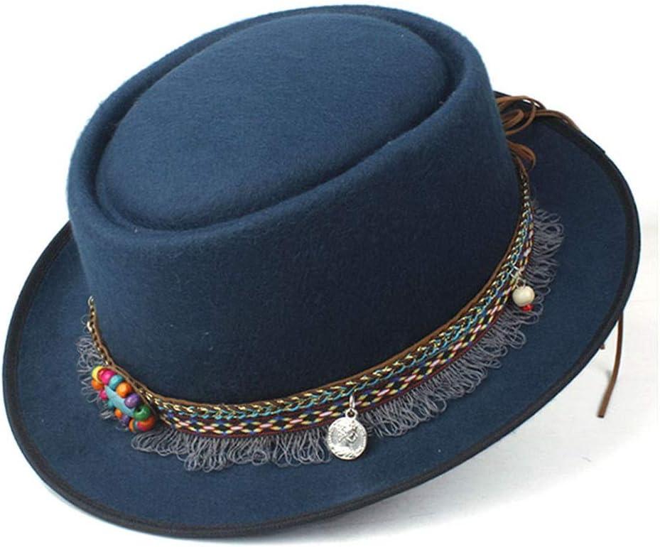 L.W.SUSL 2019 Fashion Men Women Pork Pie Hat with Tassel Ribbon Vintage Trilby Fedora Hat Size 58CM (Color : Army Green, Size : 58)