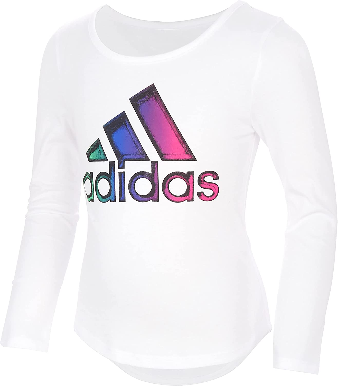 adidas Girls' Long Sleeve Scoop Neck Graphic Tee