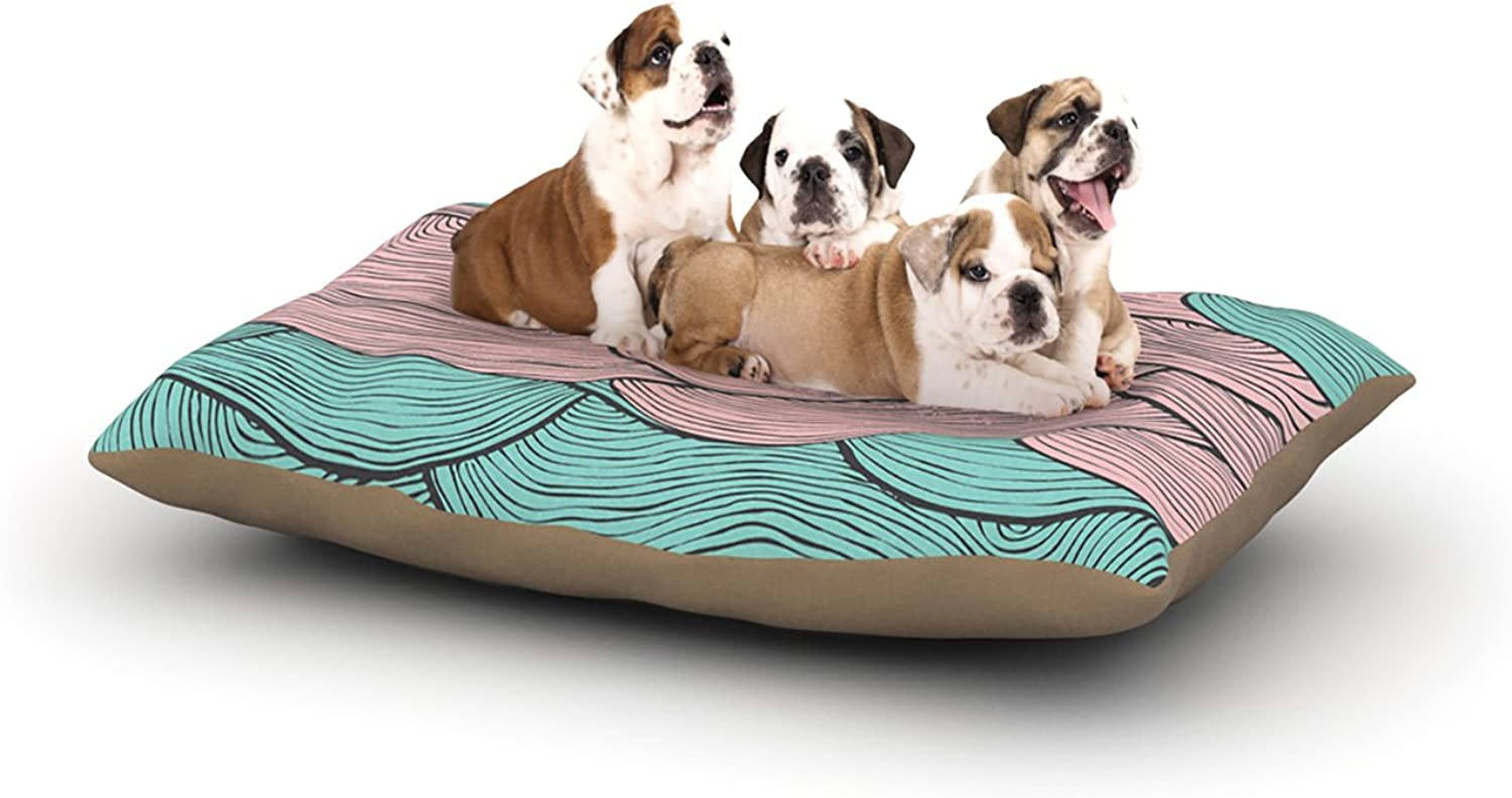 Kess InHouse Pom Graphic Design Summerlicious  Green Pink Dog Bed, 30 by 40Inch