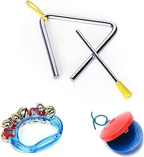 楽器 3点 セット (トライアングル + カスタネット + ハンドベル) 玩具