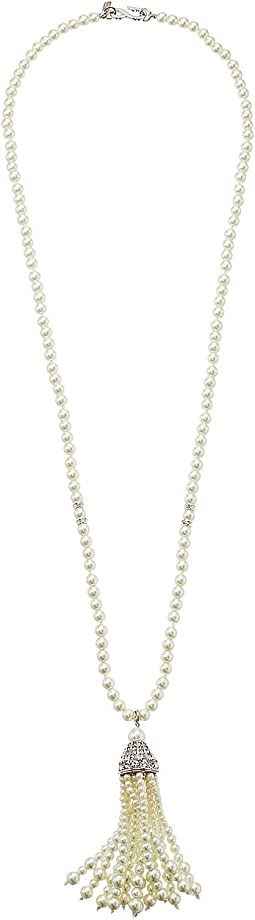 Kenneth Jay Lane - Rhodium/Rhinestone White Pearl Tassel Necklace