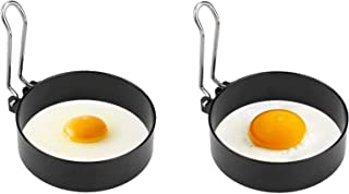 ANLEM Stainless Steel Egg Ring 2 Pack Round Egg Pancake Maker Mold Tool Cooking,Round Egg Cooker Rings For Cooking Egg Maker Molds with Brush