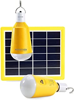 Promate Solar LED Camping Light, Portable USB Rechargeable 3W Solar Panel Powered 2 LED Light Lamp with Built-In 2600 Powe...