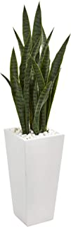 Nearly Natural 4' Sansevieria Artificial White Tower Planter Silk Plants Green
