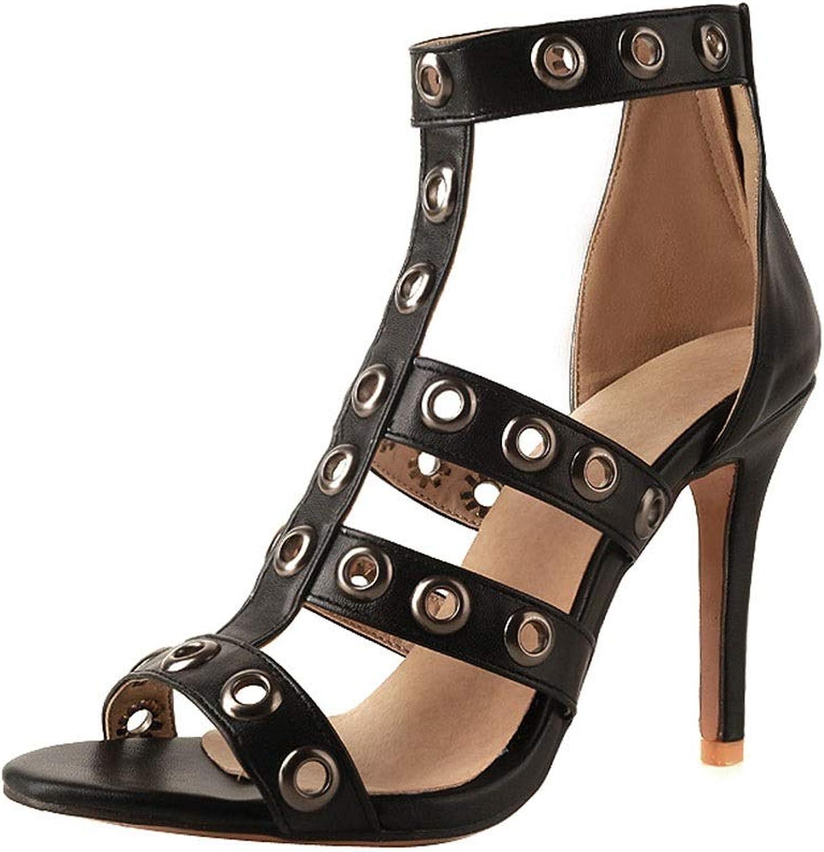 Sandalen Damenmode Stckelschuhe Super High Heel Zipper Leichte Schuhe (Farbe   A, gre   43 EU)